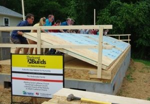 The first wall of the 2015 Thrivent Builds House was raised in early June.