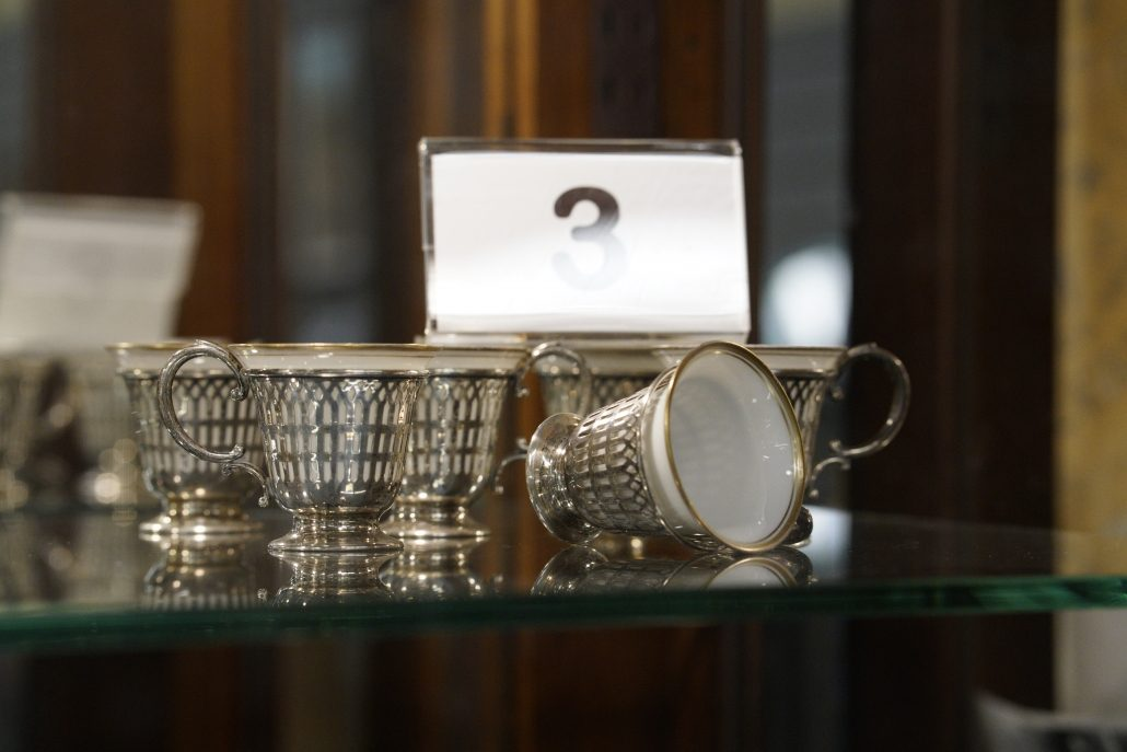 Silver-lined teacups