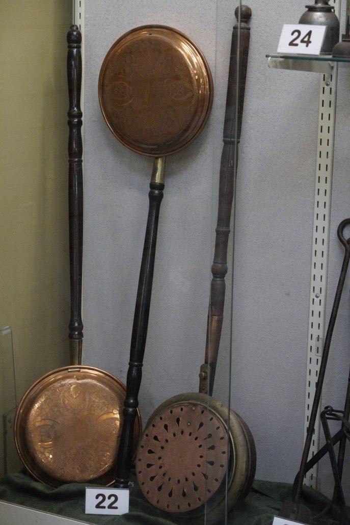 Antique copper bed warming pans