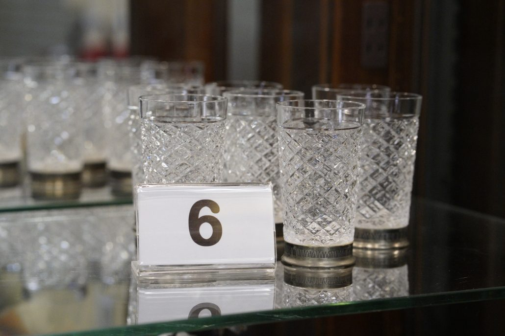 Texture crystal glasses with metal base.